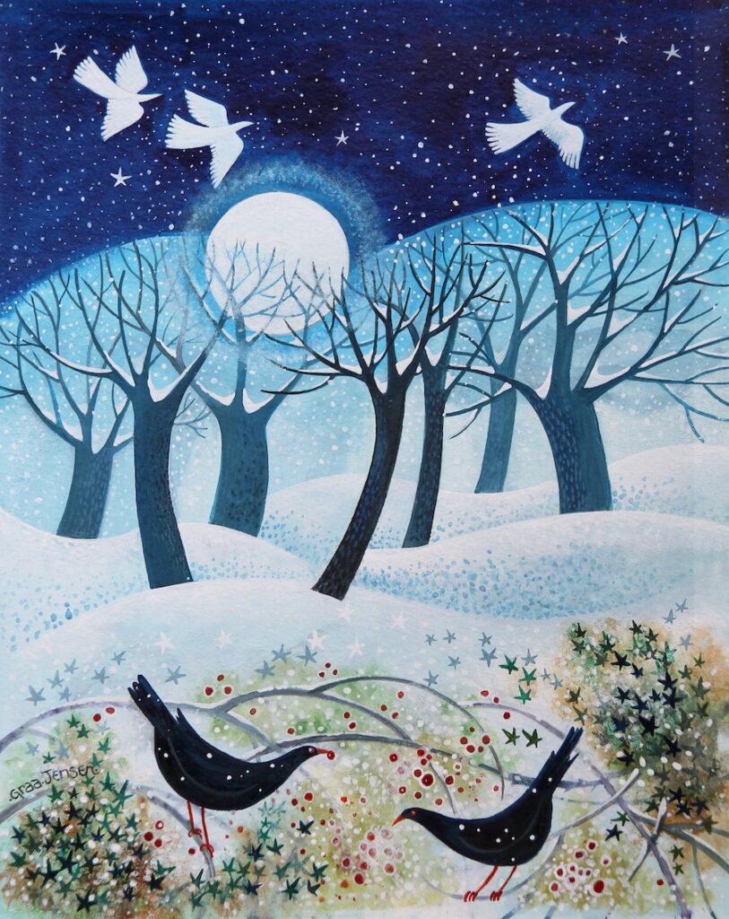 Winter Birds in the Snow